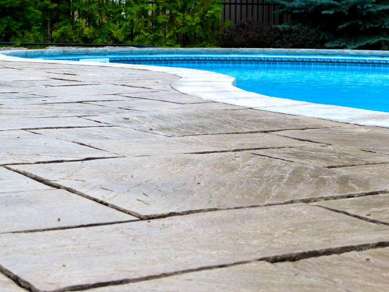 Power washing interlock patio stones